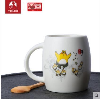 可愛簡約大容量喝水牛奶馬克杯帶蓋杯子陶瓷辦公室水杯