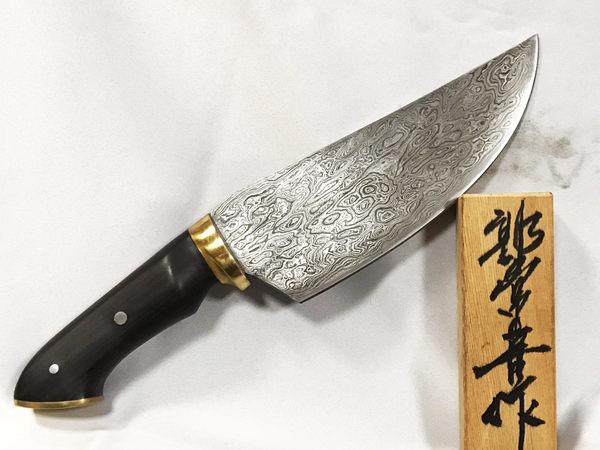 郭常喜與興達刀鋪-藝術獵刀(A0331)刀柄:黃銅+黑檀木