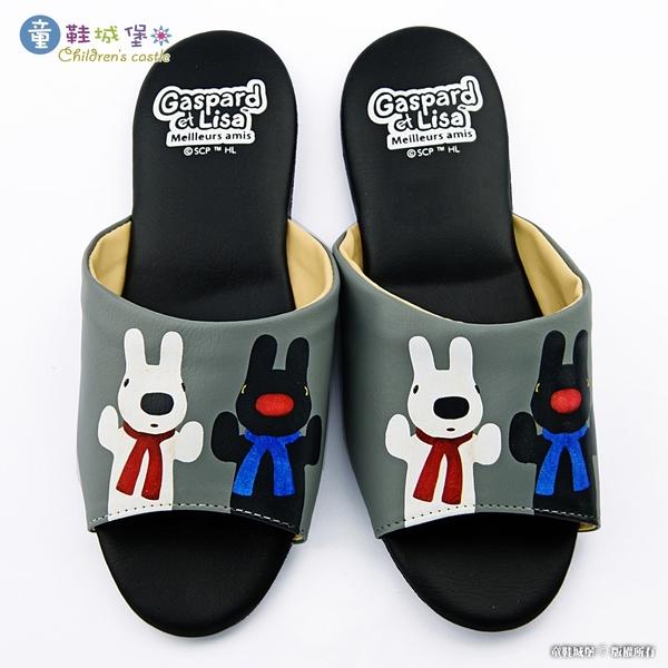 童鞋城堡-居家室內拖鞋 靜音拖鞋 麗莎與卡斯伯 GL2802 黑