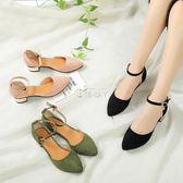 夏季新款涼鞋韓版一字扣尖頭粗跟高跟鞋淺口中跟中空女單鞋 俏腳丫