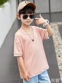 兒童男T恤男童短袖中大童春夏裝t恤潮童半袖寬鬆男孩兒童純色體恤2020 小天使 1件免運