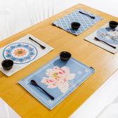 中式藍色花紋餐墊隔熱墊餐杯墊餐桌墊盤墊茶墊家用防水墊 小巨蛋之家
