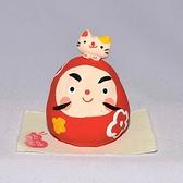 招福不倒翁與小貓咪 手工捏陶小物 作舍日本製 6cm