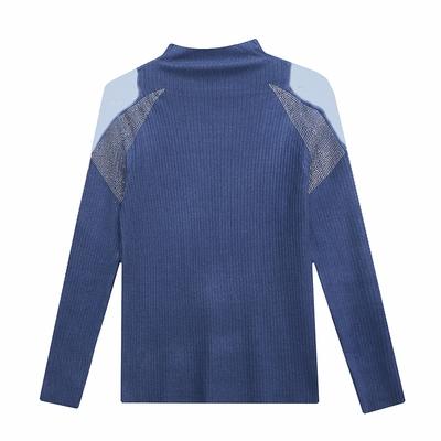 長袖T恤/棉衫 歐貨毛衣女秋冬新款性感網紗拼接露肩燙鉆高領針織衫打底上衣HF322紅粉佳人