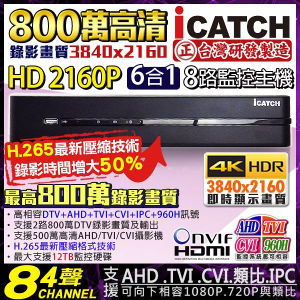 監視器 可取 H.265 800萬 8路4聲監視器主機 8路DVR 監控主機 2160P 5MP/4MP/1080P/960H DTV AHD 台灣安防