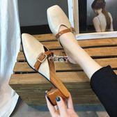 韓版復古方頭包頭半拖鞋 夏時尚外穿懶人涼拖粗跟中跟拖鞋女 俏腳丫