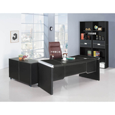 【森可家居】簡約黑皮6尺L型辦公主管桌組(含側櫃、活動櫃) 8SB262-1 OA辦公室 公司 辦公桌