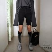 高腰牛仔短褲女黑色緊身中褲顯瘦騎行韓版五分褲春夏【時尚大衣櫥】