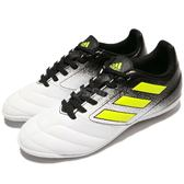 adidas 足球鞋 Ace 17.4 IN J 白 黑 螢光黃 室內版本 運動鞋 女鞋 大童鞋【PUMP306】 S77105