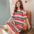 貓人純棉短袖睡裙女夏季條紋加大碼寬鬆胖mm200斤韓版中長款睡衣