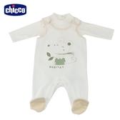 chicco 粉彩兩件式背心褲套裝白