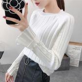 冰絲喇叭袖針織衫長袖上衣女2018新款韓版套頭小清新甜美毛衣