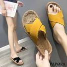 PAPORA清涼交叉平底拖鞋KQ5637黃色/黑色(偏小)
