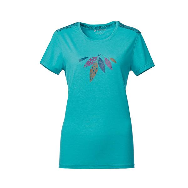 [Wildland] 荒野 (女) 彈性棉感抗UV印花上衣 湖水藍 (0A61623-65)