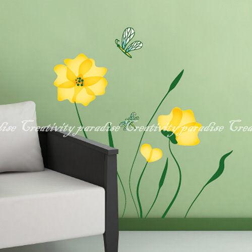 DIY花與蜻蜓壁貼無痕創意牆貼(MIT台灣製)黃花