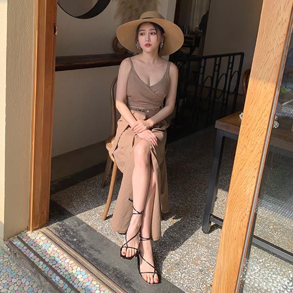 LULUS-新色/Y胸交叉綁帶簍空棉麻洋裝-3色  【02190084】