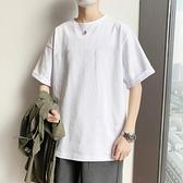 純白色短袖T恤男士純棉半袖寬鬆體恤港風夏季百搭ins男生衣服 【ifashion·全店免運】