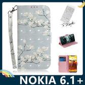 NOKIA 6.1 Plus 彩繪漸層保護套 卡通側翻皮套 雷射3D視覺 支架 插卡 磁扣 手機套 手機殼 諾基亞