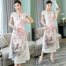 越南旗袍洋裝 年會禮儀旗袍連身裙改良版旗袍女長款優雅越南奧黛旗袍