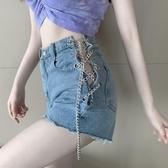 短褲女新款復古做舊錬條綁帶個性牛仔褲夏季高腰顯瘦韓版熱褲 雙十二全館免運