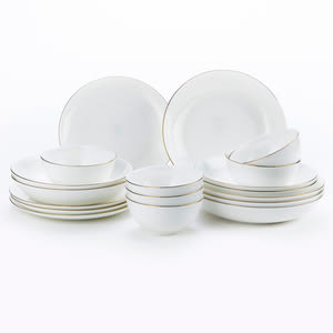 HOLA 緻金骨瓷18件餐具组 可微波 金 可適用微波爐及洗碗機
