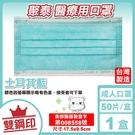 聚泰 聚隆 雙鋼印 成人醫療口罩 (土耳其藍) 50入/盒 (台灣製造 CNS14774) 專品藥局【2017214】