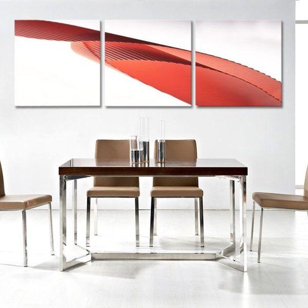 熱賣抽象 無框畫 三聯畫 客廳裝飾畫 板畫 版畫 壁畫 紅絲帶 1415