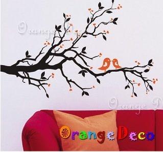 壁貼【橘果設計】喜鵲枝頭 DIY組合壁貼/牆貼/壁紙/客廳臥室浴室幼稚園室內設計裝潢