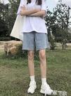 五分褲 五分牛仔褲女春夏2021年新款中褲寬鬆直筒港味高腰顯瘦短褲5分潮 【99免運】