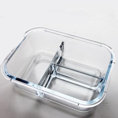 玻璃保鮮盒密封盒-長形一體成型分隔便當盒3款73pp339[時尚巴黎]
