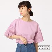 LOWRYS FARM素色圓領落肩拼接簍空蕾絲矩形邊寬袖短袖上衣-四色
