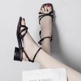 粗跟涼鞋女仙女風百搭一字帶中跟