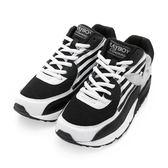 PLAYBOY 美式潮流 條紋拼接氣墊運動鞋-黑