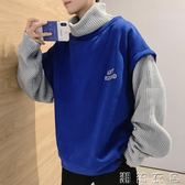 假兩件毛衣男冬季新款韓版潮流寬鬆高領針織衫線衣加厚男學生外套  潮流衣舍