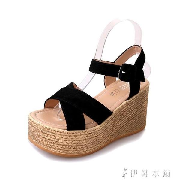 網紅涼鞋女夏新款仙女風高跟坡跟防水臺鬆糕厚底一字帶羅馬鞋 伊鞋本鋪