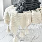 ins北歐風沙發蓋毯辦公室午睡毯子流蘇針織球毛線休閒空調小毛毯「時尚彩紅屋」