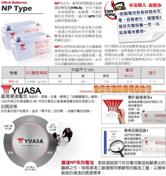 YUASA湯淺NP65-12閥調密閉式鉛酸電池~12V65Ah