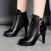 短靴 韓版細跟圓頭高跟短靴黑色百搭防水臺加絨時尚馬丁靴