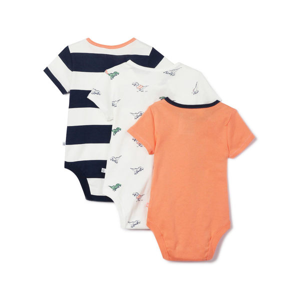 Gap男女嬰兒 舒適短袖包屁衣三件裝 442474-動感藍