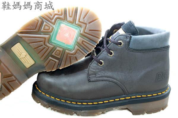 【鞋媽媽】[女]全新AE馬丁鞋*3孔短靴*黑色*防滑防潑水*ae195