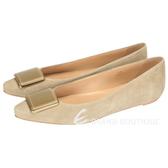 TOD'S 方塊造型麂皮尖頭平底鞋(淺灰色) 1420241-06