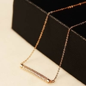 項鍊 玫瑰金純銀 鑲鑽吊墜-獨特個性生日母親節禮物女飾品73bw52【時尚巴黎】
