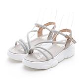 MICHELLE PARK 初夏活力 松糕厚底線條燙鑽運動風涼鞋-灰