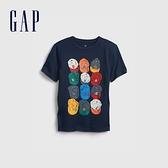 Gap男童 潮酷純棉印花短袖T恤 683400-深藍色