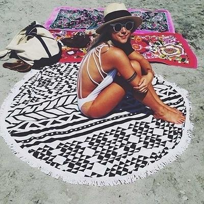 防曬披肩-流蘇自然幾何圖案多用途戶外沙灘巾73mu10【時尚巴黎】