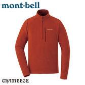 【Mont-Bell 日本 男 Chameece Pullover 刷毛半門襟《椒紅》】1104983/刷毛長袖/中層衣/休閒衫