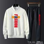 秋季男士衛衣套裝青少年學生韓版潮流休閒套裝兩件套長袖運動服潮 深藏blue