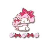 〔小禮堂〕美樂蒂 日製造型燙布貼組《2入.粉白.抱兔子》刺繡燙貼.布飾 4972873-75631