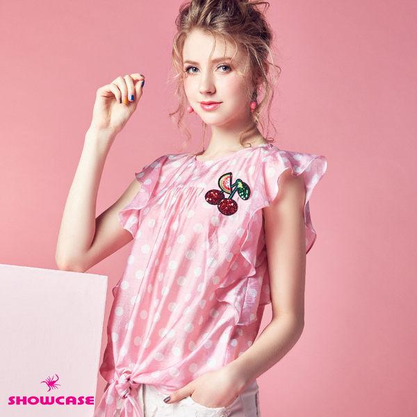 【SHOWCASE】甜美點點荷葉袖綁結上衣(粉)