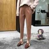 西裝褲 哈倫褲女秋冬韓版顯瘦西裝煙管褲直筒九分休閒長褲老爹奶奶褲 4色